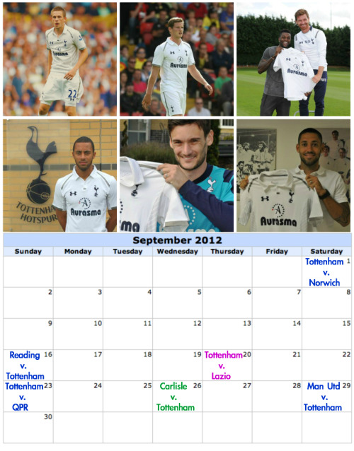 iheartsetpieces:  Spurs Fixtures for September 2012  Blue: Premier League  Pink: Europa League Green: Capital One Cup