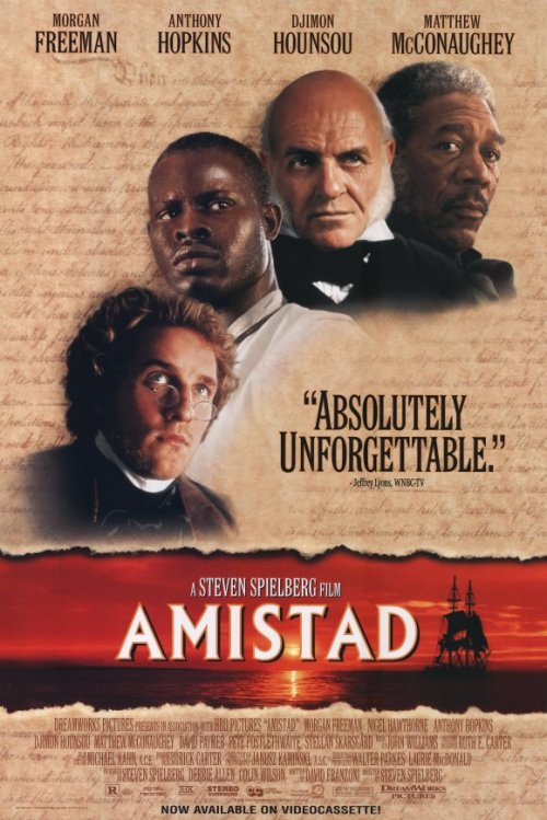 #404/#121 Amistad In 1839, after rising up and taking over the slave ship La Amistad, West African slaves are recaptured by American forces once they reach American shores. There they are put on trial for the murder of the Spanish crew and it quickly becomes a heated debate over whether the Africans were within their rights as people to defend themselves from those attempting to imprison them or if they, as slaves, were not. I knew little to nothing about this film before watching but it turns out this is a really well acted and interesting story about a small scale incident with large reaching implications. It's also a Steven Spielberg film so odds are it's going to be pretty high quality stuff. There are some really great performances from both Matthew McConaughey and Anthony Hopkins, the latter getting to make a really stirring speech to the Supreme Court, but the movie belongs to Djimon Hounsou as the main West African Cinque. Speaking very little English throughout the film, all of his performance comes from his body language and expressions. He has a presence in this that just overshadows everyone else in the movie. It is easily his best role. The only actor I don't think was pulling his weight was, surprisingly, Morgan Freeman. The inclusion of his character to the narrative was apparent for the film but any competent actor could have filled the role. There was nothing added by having it be Freeman. It's in no way a bad performance, just a misuse of a great actor. I watch a lot of films but it's only the really good ones that I get engrossed in and this movie does just that. It's not one I'll probably go back to but I do feel better for having watched it. 4.5/5