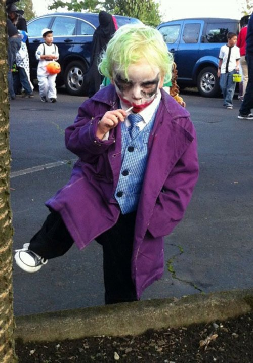 Kid Dressed as the Joker You wanna know how I got this face paint?