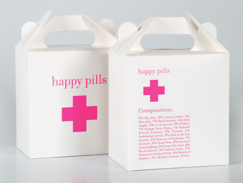 HAPPY PILLS  Packaging design for a candy shop in Barcelona called Happy Pills. Rather than using bags, customers use jars and pill cases to store their candy purchases. [ Designed By | Marion Donneweg ]