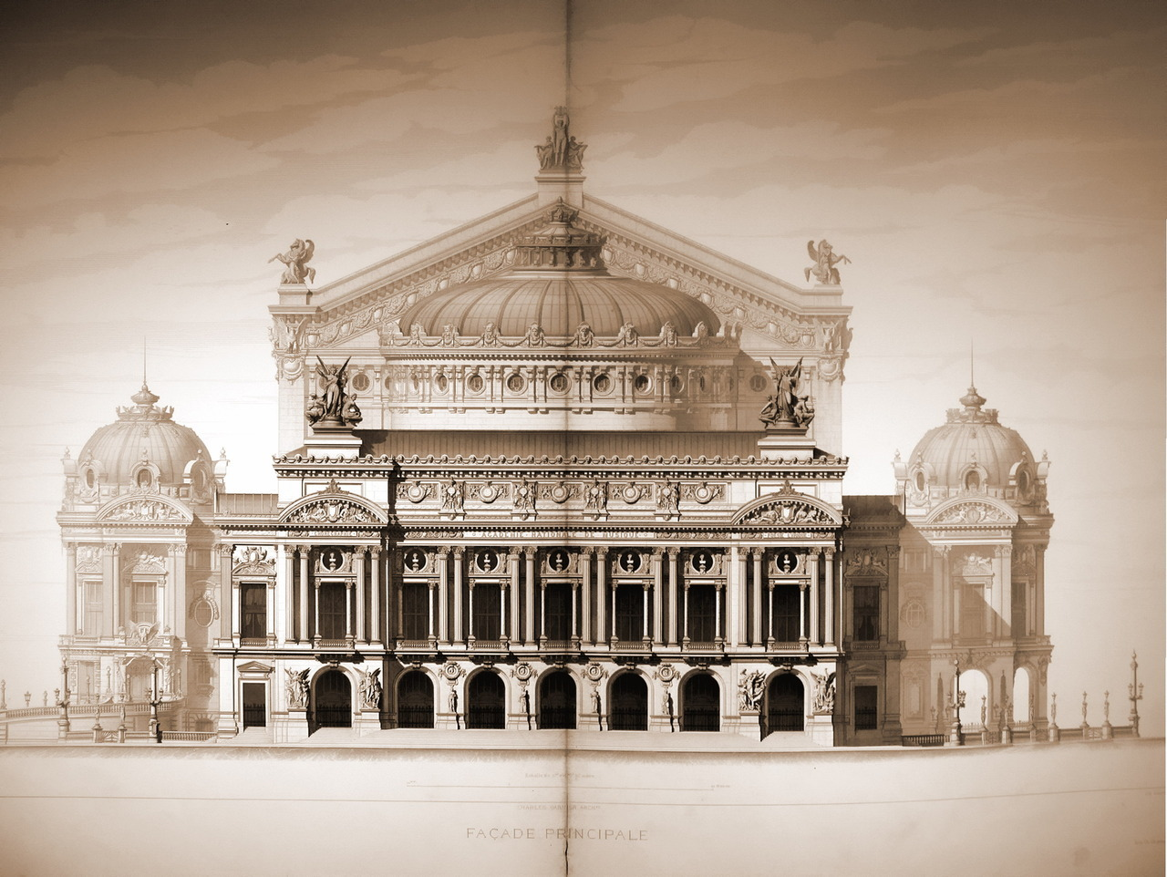 The elevation of Garnier's Opéra, Paris