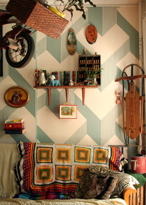 Checkout that wall - DIY, painted, found at Design Sponge.