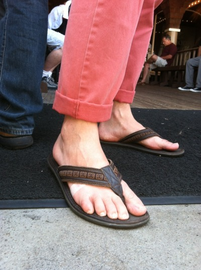 "To wear sandals, one has no other choice but to expose his foot. A preferred variation of the ""shoe"" during the summer months, the sandal provides freedom to the foot: It serves to protect the sole while leaving the rest of the foot exposed—at one with the elements.  Yet, the ""brazen ankle"" is traditionally associated with a closed-toe shoe that cuts off above the heel, with a certain number of inches of bare ankle above it, which then meets the bottom of a cuffed pant.  This begs a question: Does a bared ankle—if accompanied by a sandal—truly count as a brazen ankle based on the existing nomenclature? After all, it is not just the ankle that is bared but the entire foot save for a few straps of material that intertwine themselves between the toes or around the top region of the foot as a fastener.  After strong consideration, I have concluded we are in need of a second definition of the brazen ankle that reflects when a rolled cuff is paired with a sandal. Here forth, cuffed pants paired with sandals—which include but are not limited to thongs, Birkenstocks, Tevas and other shoe-like entities that do not fully enclose the foot—shall be referred to as: BRAZEN SANKLES."