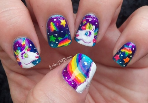 nailpolishdistraction:  Lisa Frank Nail Art by Amber Did It.