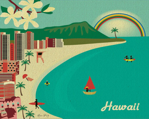 Diamond Head and Waikiki Beach in Honolulu Hawaii by loosepetals