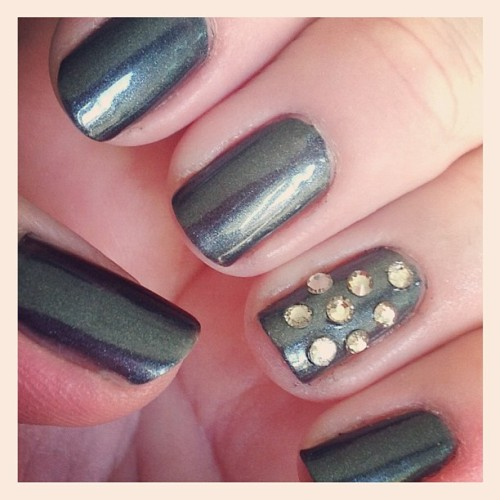 """Over the Top"" by Essie with Black Diamond Rhinestones accent. #essie #nails #nailpolish #rhinestones (Taken with Instagram)"
