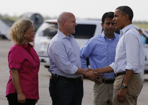 President Obama with New Orleans Mayor Mitch Landrieu, Senator Mary Landrieu and Louisiana Governor Bobby Jindal at Louis Armstrong International Airport in New Orleans, Louisiana September 3, 2012