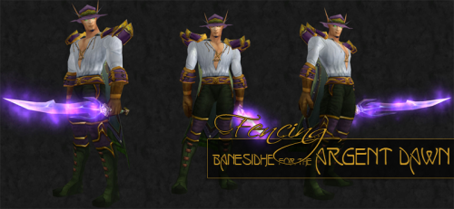Another entry from my 2012 Mogolympics Event Entries Our male blood elf model would like the judges to know that you don't have to sacrifice being deadly to look dashing. With a rapier wit to match the glowing edge of his blade, he can easily dance around his opponents while dazzling them with his purple, sage and gold combo of cloth. Being a bit daring with the baring of his chest, he uses the distraction to score hit after hit on his competition – and we don't just mean the scoring kind. Or do we? Oh, the innuendos abound. [IMG | Item List] Item List:Head: Shadowbrim Travel HatShoulders: Elder's MantleChest: Buccaneer's VestCloak: Drape of Smoldering DreamsWaist: Soulguard GirdleBracers: Evil Dolly's CuffsHands: High Councillor's GlovesLegs: Hooligan's PantaloonsFeet: Blood WadersSword: Continuum Blade
