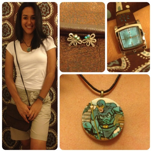 #OOTD: more #BlueBeetle inspired goodness, with matching bug (dragonfly) earrings. #comics (Taken with Instagram)