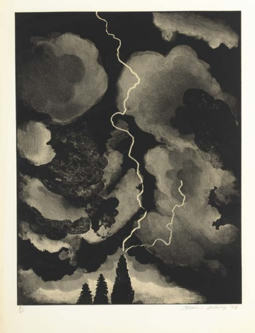 blastedheath:  David Hockney (British, b. 1937), Study of lightning medium, 1973, Lithograph.