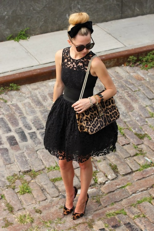 Blair Eadie, style blogger of Atlantic-Pacific, in 'A Date' wearing an ASOS dress and bow, Giuseppe Zanotti shoes, Valentino bag, jewelry by David Yurman, Stella&Dot, and Hermes, paired with Karen Walker 'Number One' sunnies.