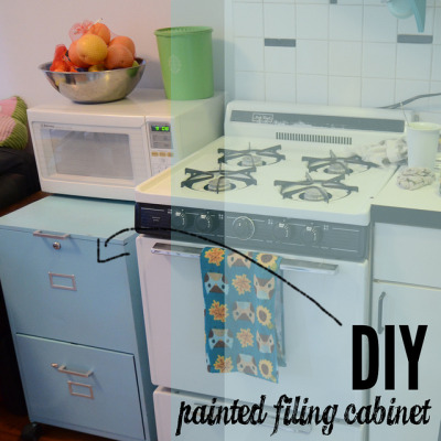 littlecraziness:  (via Stars for Streetlights: DIY Painted Filing Cabinet (For the Kitchen!))