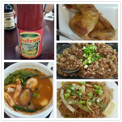 emak84:  Intro to Filipino Food at Max's of Manila Ever heard of banana ketchup? Neither have I until this past Monday. It taste exactly like regular ketchup but slightly sweeter. It went well with Max's famous fried chicken.  Did you know eating sour foods can increase your appetite and digestion? Order the Hipon Sinigang (Tamarind sour soup with Shrimp) to eat along with your other entrees. The soup will help cut out the fattiness from the other dishes. It is quite sour, but it has a nice flavor that makes you spooning for more. Pancit Sotanghon (Stir fried Mung bean noodles) taste just like Cantonese vermicelli noodles. Finally, if you're not afraid of chewy bits, order the Pork Sisig- a flavorful mix of diced broiled pork ears and snout served on a sizzling plate. Mmm, spoon this over garlic rice!  Max's of Manila, 687 Newark Ave, Jersey City, NJ
