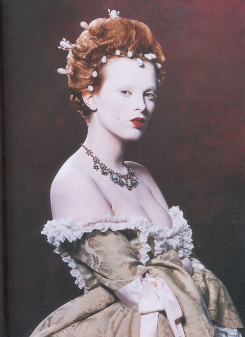 bohemea:  Karen Elson as Elizabeth I - Face Forward by Kevyn Aucoin, 2000