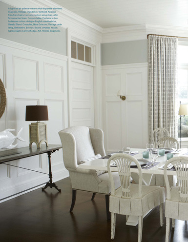 | belle maison | Perfectly treated bay window in a dining room- subtle yet elegant.  xxDC