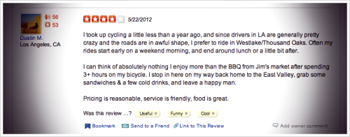 RAVE REVIEW. Looking up a local market and came across this review. It worked. Something about it just spoke my language. - Brian