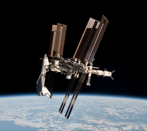 flummery:  n-a-s-a:  Space Shuttle and Space Station Photographed Together  Credit: NASA   Just wow  Sexy.