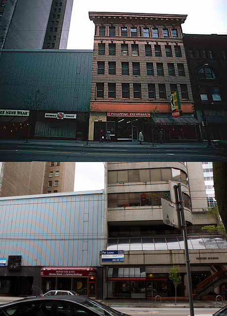 entheos-fog:  600 Block of west Hastings - 1974/2012 on Flickr.