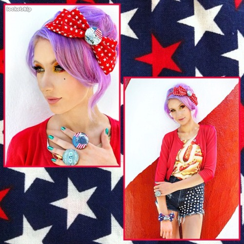 Americana line is now available on www.locketship.com! Photo by: @looooo3 Model: @lillipore #locketship #jewelry #accessories #bow #ring #hair #bracelet #fashion #style #americana #redwhiteandblue #starsandstripes #pug #mtcatmore #mtrushmore #cute #kawaii #hotdog #headband #money (Taken with Instagram)