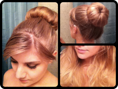 today's sock bun, front back & after   my hair = lions mane  Edit: my lashes (natural/no falsies) look pretty awesome w my eyes closed, wish they looked like that all the time! 3: