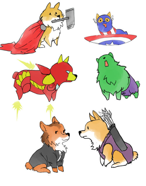 womanaconda:givenclarity:   corgivengers  OMFG IT SHOWED UP ON MY DASH MY ROOMMATE DREW THIS HOW ARE YOU NOT JEALOUS EDIT: OMFG SHE MADE MORE
