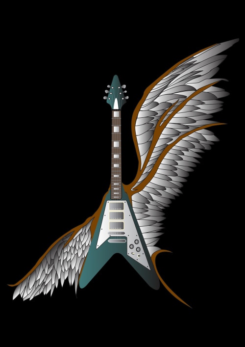 This is a guitar with wings I vectored, representing freedom. I produced a few of these but only displaying this one online.