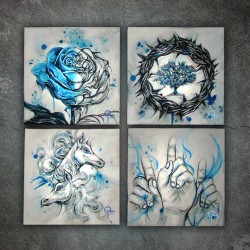 Painting when bored and rainy. Four Square Canvas Paintings #artwork (Taken with Instagram)