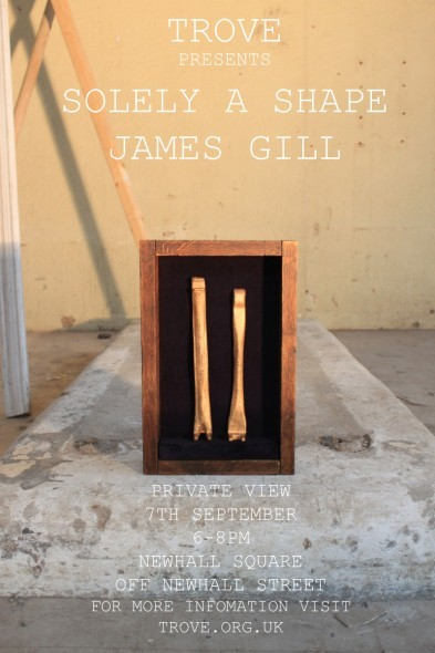 West Midlands based artist James Gill is presenting a new body of work at TROVE this September in an exhibition entitled Solely a Shape. The Private View is taking place on Friday, flyer above.