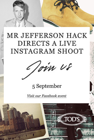 We're having a live Instagram shoot with Mr Jefferson Hack to launch his cool Tod's No_Code shoe collection. Join us tomorrow on Facebook