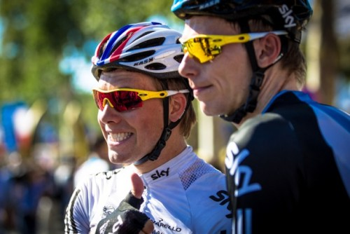 Celebrating the Champs Elysees  Edvald Boasson Hagen and Christian Knees of Team Sky meet the press with a radiant thumbs up at the finish in Paris. Photo: BrakeThrough Media