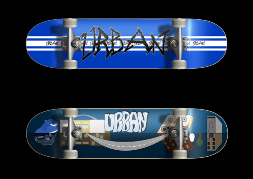 Two urban inspired skateboards which I produced as print and on a skateboard deck.