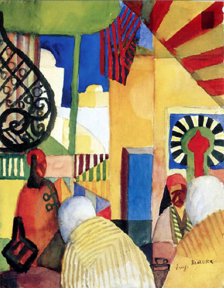 August Macke (1887-1914)  Im Bazar, 1914  Watercolour and pencil on paper, 11 3/8 x 9 inches