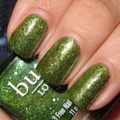 "Butter London ""Swinger"" — a chic yellow-green sparkler, with varied sizes of bright green glitters (via Challenge Day 4: Green Nails – butter LONDON Swinger @ The Subtle Shimmer)"