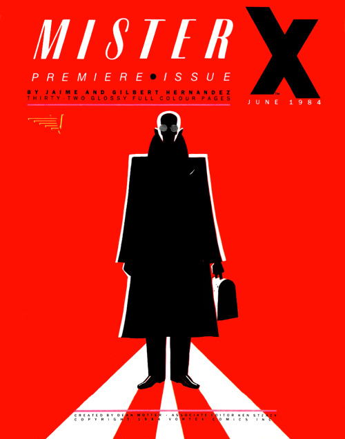 Promotional ad for Mister X #1 by Jaime Hernandez & Gilbert Hernandez. Art by Paul Rivoche, 1984.