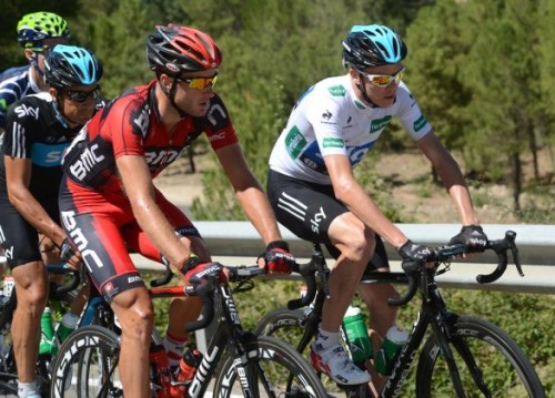 2012 Vuelta a España, stage 9 - Cummings and Froome Ex team mates Chris Froome of Team Sky and Steve Cummings BMC Racing Team Photo: Graham Watson