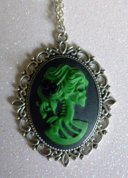 Green and Black Skeleton Lady Cameo Necklace http://www.etsy.com/shop/CalamityJayneDesigns