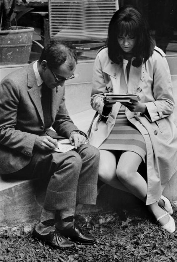 Jean-Luc Godard and Anna Karina on the set of Made In U.S.A, 1965.