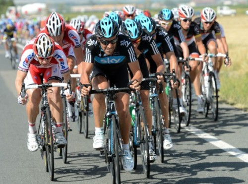 2012 Vuelta a España, stage 4 - Sky Team Sky pushed the pace, despite the race leader getting caught up in a crash in the final 30km. Photo: Graham Watson