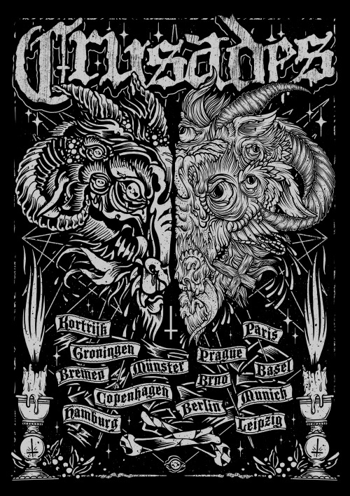 Here's the INCREDIBLE tour poster designed by evil geniuses (genii?) Drew Millward and Craig Robson for our upcoming Euro tour. Screened copies will be available at the shows in Europe, and I believe also through Drew and/or Craig's online stores. We'll also have a shirt version for sale (and hopefully some sick backpatches). And seriously, check out those fellas' other prints/merch/etc. Phenomenal.