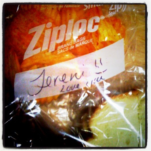 Getting notes on your lunch :) <3 (Taken with Instagram)