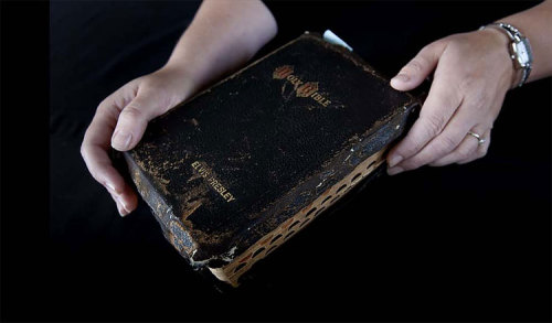 Elvis Presley Bible with notations is being auctioned off in Scotland.
