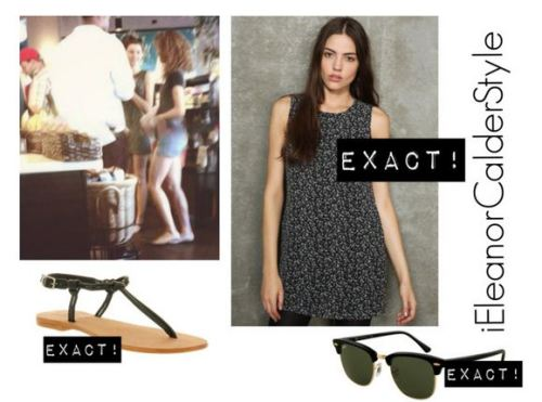 Eleanor At Starbucks With Danielle (LA) Wearing These Sunglasses, ThisDress (same a V-Fest without collar) and These Shoes. The bag is sold out but she was probably with that or one of her mulberry ones.