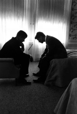life:  Presidential candidate John F. Kennedy confers with his brother and campaign organizer, Robert Kennedy, in a hotel suite during the 1960 Democratic National Convention in Los Angeles. See more photos of LIFE's coverage from the Democratic National Convention through the years here.