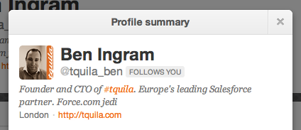 Branding dedication: Tquila founder Ben Ingram adds his company handle in front of his name. As does (almost) the whole tweeting staff.