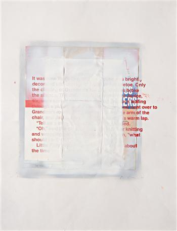 "RICHARD PRINCE  'Untitled' 1988 Acrylic, silkscreen, spray enamel, and collage on paper 20 3/4 x 19 1/2 in. Signed and dated ""R Prince 88"" lower right.  Text reads:   'It was New Year's Eve, and the house was brightly decorated with springs of holly and mistletoe. Only the clicking of Grandma's knitting needles broke the silence. The children, Polly, eight, and Janice, six, were seated before the roaring fireplace leafing through a picture book. Then they rose and went over to Grandma's rocker. Polly climbed up on the arm of the chair, and Janice snuggled into Grandma's warm lap.""Tell us a story, Grandma,"" Janice pleaded.""Oh,"" said the old lady putting aside her knitting and wrapping her arms around the children, ""what should I tell you?""Little Polly's voice came gently, ""Tell us about the time you were a whore in Chicago.""'"