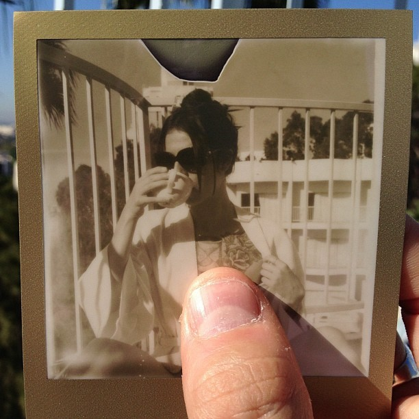 derekwoods:  Morning coffee with my all time love. #polaroid #photography #theimpossibleproject (Taken with Instagram at The Standard, Hollywood)