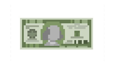 A 100 Dollar Bill, a fairly large denomination of legal tender commonly found in the United States of America, now derezzed to a very blocky 39 x 17 pixel resolution.  Sadly, you can't use these for buying things. However, you can always print out a couple dozen of them and have an impromptu money shower.   Requested by: http://vibeology.tumblr.com/