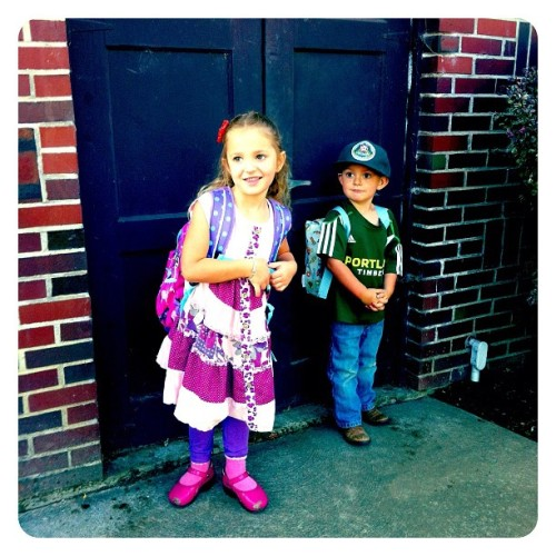 First day of kindergarten for her. He's not happy.  (Taken with Instagram at Blue Bee Farm)