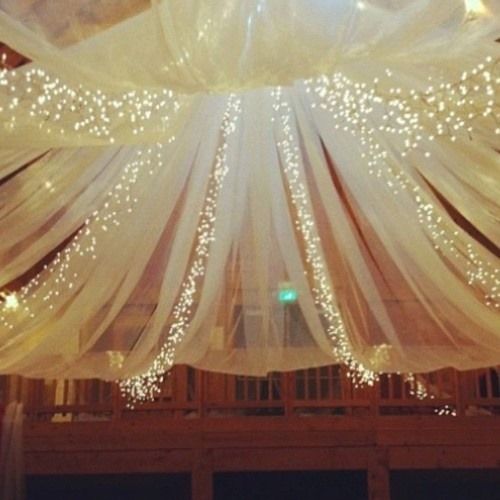 I love draping with fairy lights!