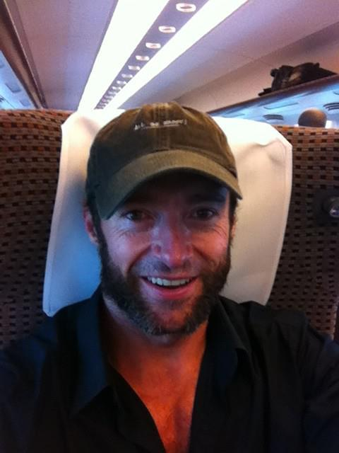Hugh Jackman on the bullet train in Japan (from his twitter)